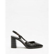 Atmos&Here Sabine Leather Heels Black Croc Embossed Leather AT049SH56NGLMPS