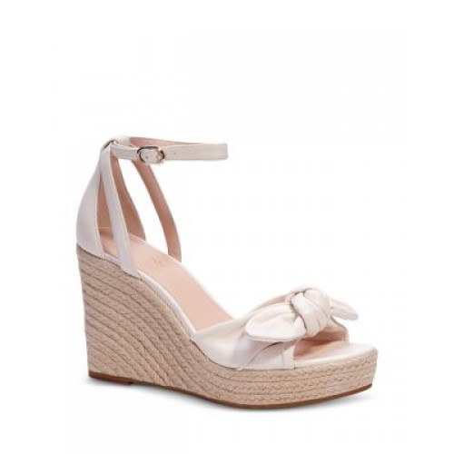 kate spade new york Women's Tianna Almond Toe Knotted Bow Leather Espadrille Wedge Sandals Parchment OVNQCVRXVF