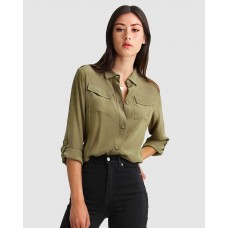 Belle & Bloom Eclipse Rolled Sleeve Blouse Military BE124AA95VEEUHJ