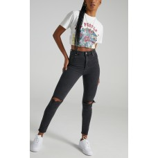 Abrand - A High Skinny Ankle Basher Jean in Graphite Rip PTBRLTAYWT