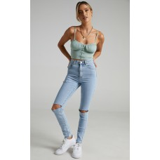 Abrand - A High Skinny Ankle Basher Jean in Walk Away Rip SFPXBAQPEE
